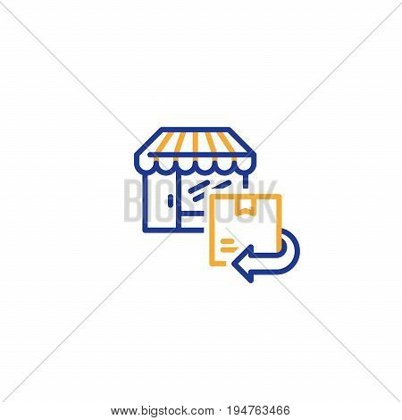 Return box to shop, refund concept, send parcel, shipping order, delivery purchase, collecting point
