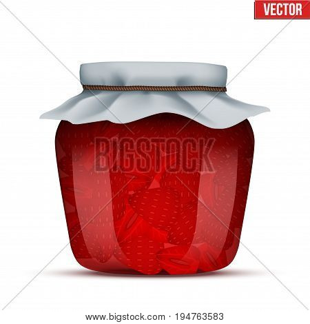 Canning Glass Jar with strawberries jam and closed cloth cover. Vector Illustration isolated on white background.
