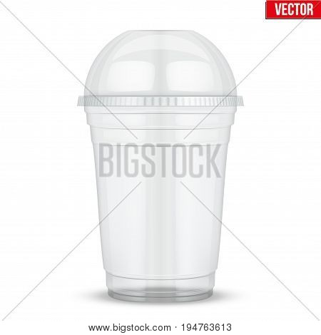 Clear plastic cup with sphere dome cap. For milkshake and lemonade and smoothie. Vector Illustration isolated on white background.