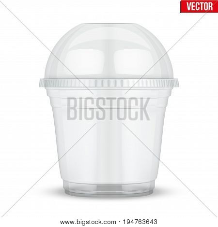 Clear plastic cup with sphere dome cap. For ice cream and dessert. Vector Illustration isolated on white background.