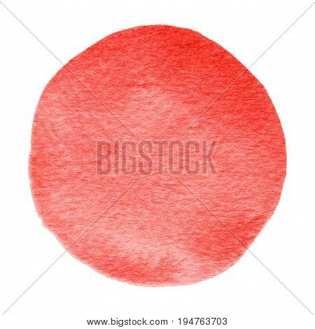 Red Flame Scarlet Watercolor Circle. Watercolour Stain On White Background