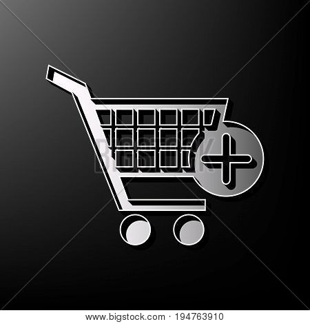 Shopping Cart with add Mark sign. Vector. Gray 3d printed icon on black background.
