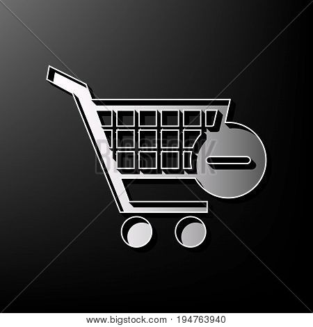 Vector Shopping Cart with Remove sign. Vector. Gray 3d printed icon on black background.