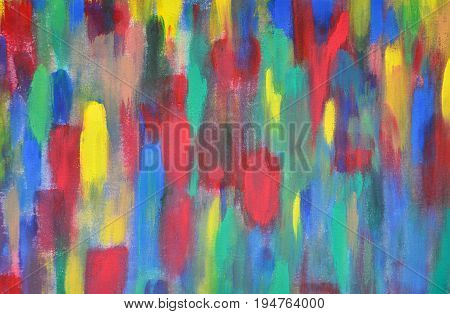 abstract colorful paint streaked on canvas frame