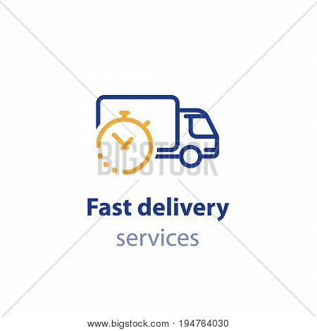 Timely delivery concept, truck and clock, order shipping on time, fast distribution services, shipment delay vector line icon