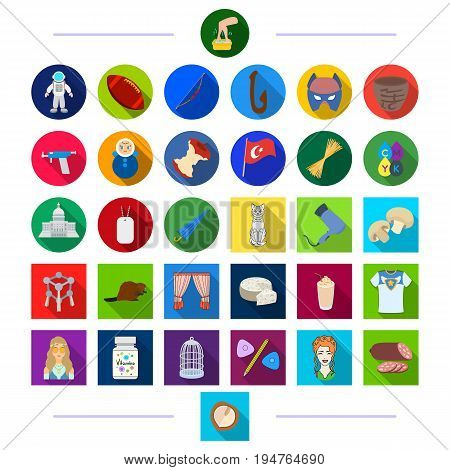 decorations, business, animals and other  icon in flat style. hairdresser, textile, restaurant, icons in set collection