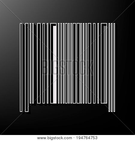 Bar code sign. Vector. Gray 3d printed icon on black background.