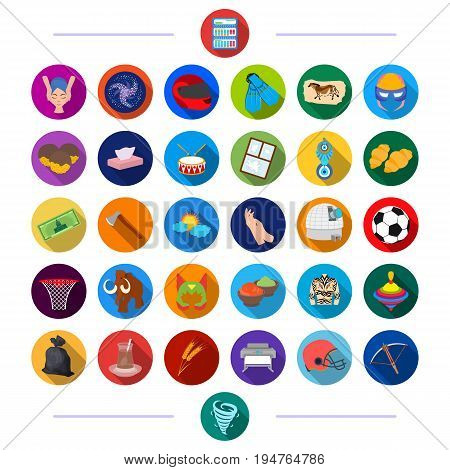 cosmetology, history, ecology and other  icon in flat style., cinema, leisure, hobbies icons in set collection