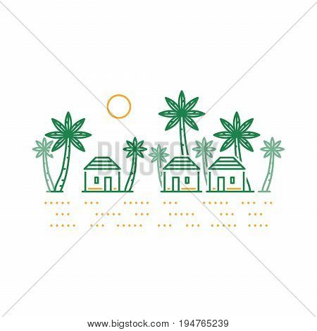 Small tribe, tiny village in a hot southern land. Might be in Africa, Asia or India, vector line illustration