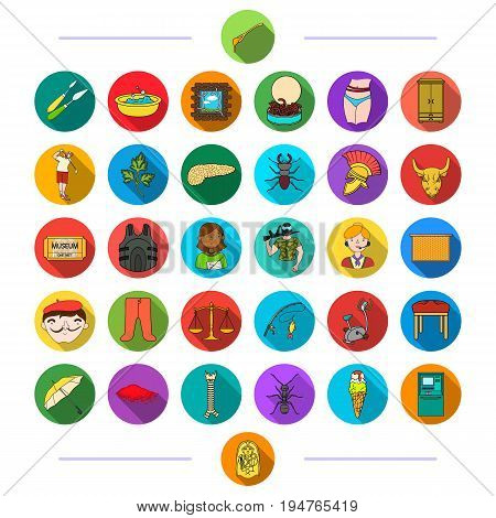 business, fishing, hygiene and other  icon in flat style.history, diet, sport, icons in set collection