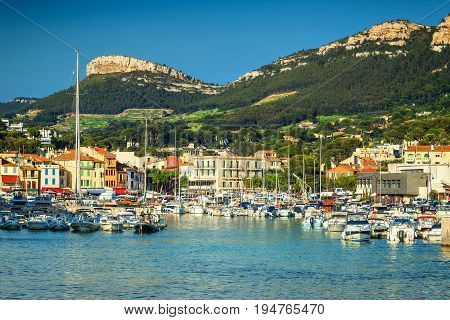 Wonderful fishing harbor with boats and luxury yachts in Cassis Marseille France Europe