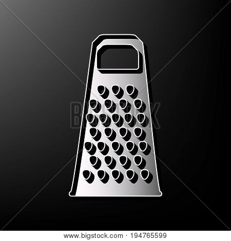 Cheese grater sign. Vector. Gray 3d printed icon on black background.