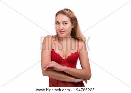 portrait of sexy young beautiful blonde woman in red underwear posing isolated over white background