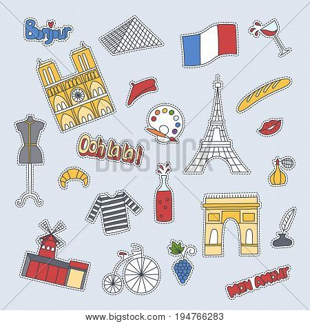 Hand drawn patch badges with France symbols - Eiffel tower Moulin Rouge Triumphal arch, champagne bike flag croissant beret perfume. Stickers, pins and patches in cartoon 80s-90s comic style.