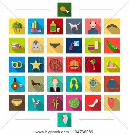 nature, tourism, textiles and other  icon in flat style. business, production, vegetables icons in set collection.