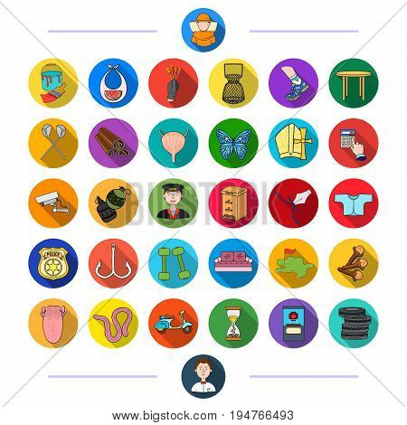 medicine, nature, entertainment and other  icon in flat style., sport, business, fishing icons in set collection