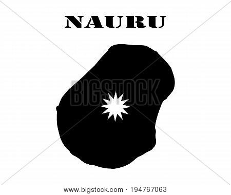 Black silhouette of the map and the white silhouette of the Isle of Nauru symbol