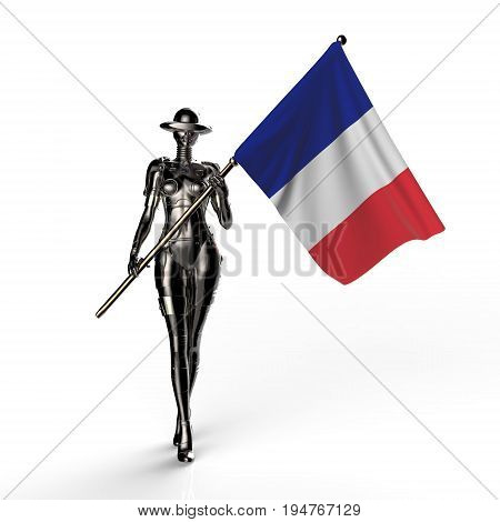 3D illustration. The stylish cyborg the woman with flag of France. Futuristic fashion android.