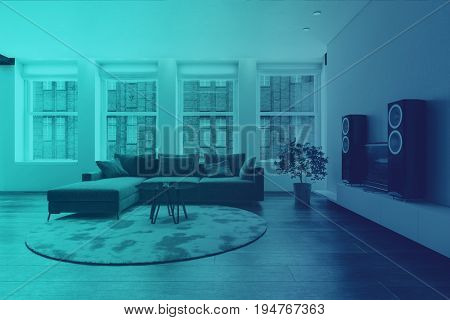 Modern design living room interior. Blue Duotone style. 3d Rendering.