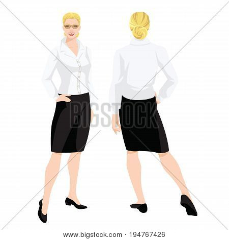 Vector illustration of woman in formal black skirt, white blouse and shoes on flat heel on white background. Various turns woman's figure. Front view and back view.