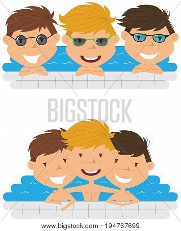 Cute cheerful boys relaxing in the pool. Young teens having fun in outdoor swimming pool. Summer vacation in the resort.