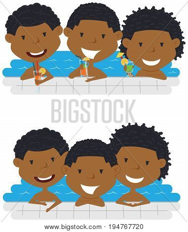 Cute African American cheerful boys relaxing and drinking cocktails in the pool. Young teens having fun in outdoor swimming pool. Summer vacation in the resort vector illustration.