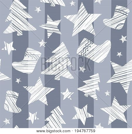 Christmas background, sock, star, tree, seamless, gray, vector. Christmas trees, socks and stars are drawn with a diagonal stroke. White figures on a gray striped background.