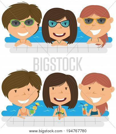 Beautiful cheerful girls relaxing and drinking cocktails in the pool. Young teens having fun in outdoor swimming pool. Summer vacation in the resort vector illustration.