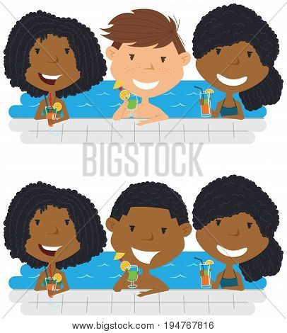 Cheerful girls and boys relaxing and drinking cocktails in the pool. Young multiracial teens having fun in outdoor swimming pool. Summer vacation in the resort vector illustration.