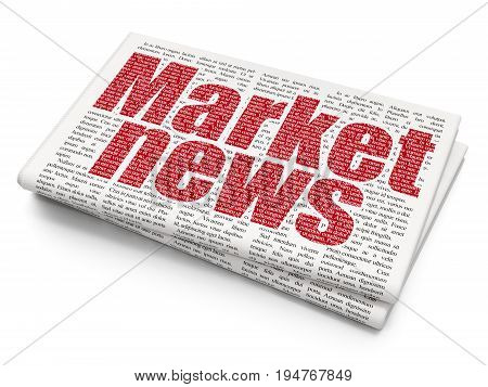 News concept: Pixelated red text Market News on Newspaper background, 3D rendering