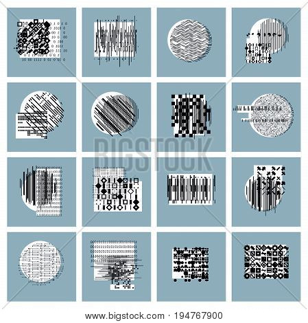 Abstract geometric compositions set vector backgrounds collection.