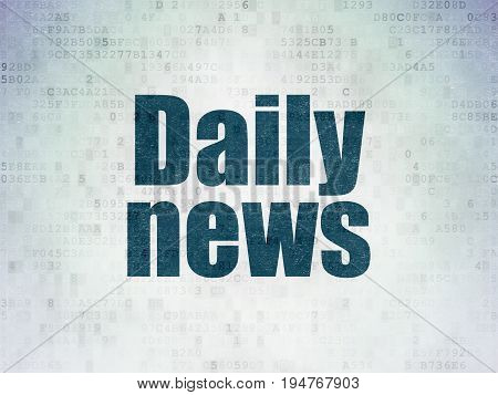 News concept: Painted blue word Daily News on Digital Data Paper background