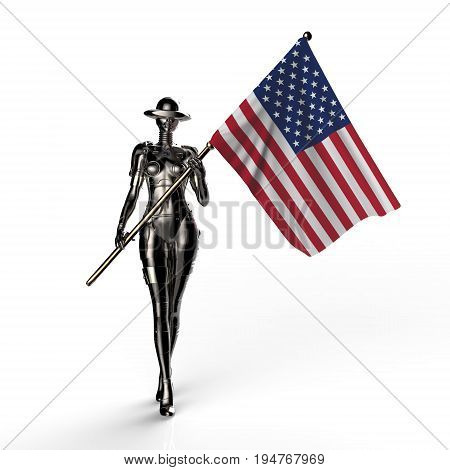 3D illustration. The stylish cyborg the woman with flag of USA. Futuristic fashion android.