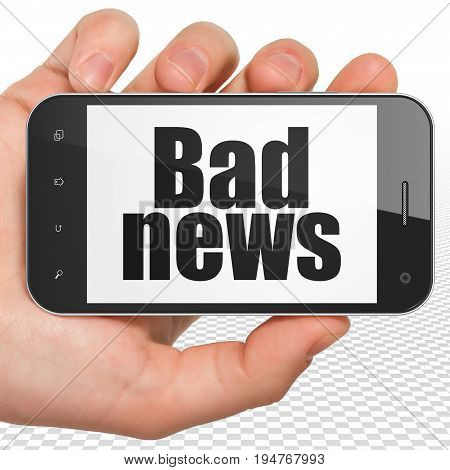 News concept: Hand Holding Smartphone with black text Bad News on display, 3D rendering