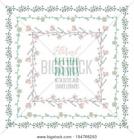 Decorative Floral Flexible Pattern Brushes with Branches, Herbs, Plants and Flowers. Size and Shape adjustable. With Outer and Inner Corner Tiles