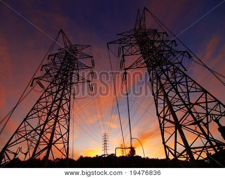 Sunset and electric towers