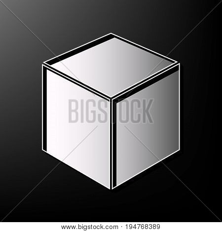 Cube sign illustration. Vector. Gray 3d printed icon on black background.