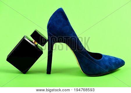 Fancy Suede Female Shoe And Accessories. High Heel Footwear
