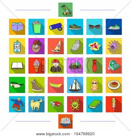 sports, animals, education and other  icon in flat style., business, ecology, textile icons in set collection