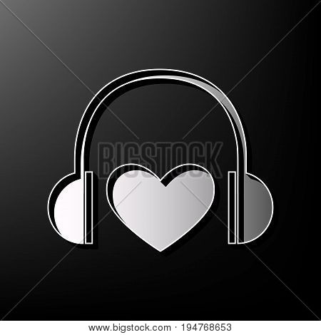 Headphones with heart. Vector. Gray 3d printed icon on black background.