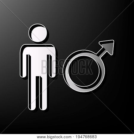 Male sign illustration. Vector. Gray 3d printed icon on black background.