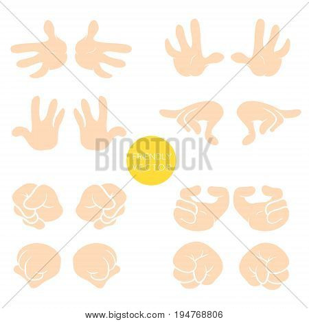 Vector collection of wrist symbols isolated on white background. Cartoon style. Different wrist and gestures signs.