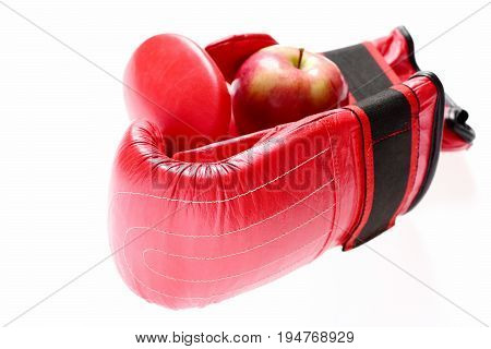 Boxing Gloves In Red Color. Knock Out And Healthy Nutrition