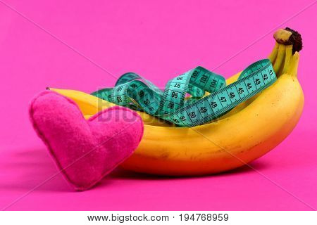 Heart Near Bunch Of Bananas With Measuring Tape