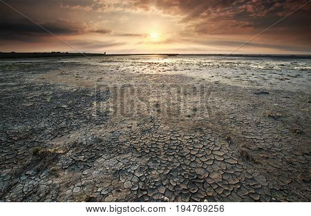 sunset over dried Wadden sea coast at low tide