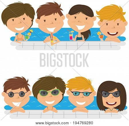 Cheerful girls and boys relaxing and drinking cocktails in the pool. Young teens having fun in outdoor swimming pool. Summer vacation in the resort vector illustration.