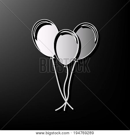 Balloons set sign. Vector. Gray 3d printed icon on black background.