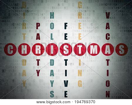 Holiday concept: Painted red word Christmas in solving Crossword Puzzle on Digital Data Paper background