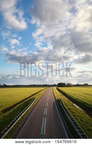 highway road and blue sky on sunny day