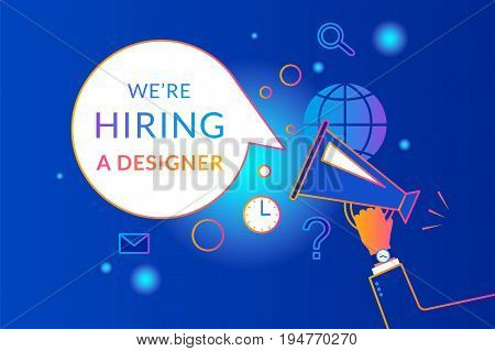 Megaphone with bubble speech we are hiring. Gradient line vector illustration of human hand holding megaphone with bubble speech hiring designer template. Creative announcement and broadcasting design